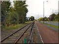 SJ7895 : Railway Line, Barton Dock Road by David Dixon