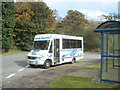 SO0511 : Globe Coaches bus at Taf Fechan Houses bus terminus, Pontsticill by John Grayson