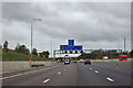 TQ4998 : M25 - 1 mile sign for junction 27 by Robin Webster