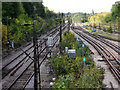 TQ5586 : Railway tracks leading west from Upminster Station by Richard Dunn