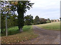 TM3473 : Footpath to Cookley & entrance to Huntingfield Hall by Adrian Cable