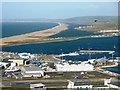 SY6676 : Portland Harbour and Chesil Beach by Tom Jolliffe