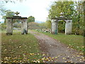 SO8744 : Croome Landscape Park - Punch Bowl Gates by Chris Allen
