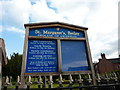 SJ7548 : St Margaret's Church, Betley, Sign by Alexander P Kapp