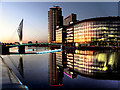 SJ8097 : Media City Footbridge and BBC Offices by David Dixon