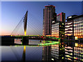 SJ8097 : MediaCityUK; BBC Offices and Pedestrian Swing Bridge by David Dixon