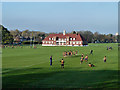 TQ3372 : Playing fields and pavilion, Dulwich College by Robin Webster