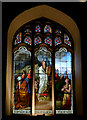 TL4457 : Stained glass window in the chapel at Peterhouse, Cambridge by Roger  Kidd