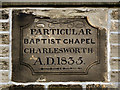 SK0093 : Charlesworth Particular Baptist Chapel Datestone by David Dixon