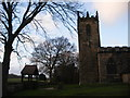 SK3499 : St Peter's Church tower and lych gate, Tankersley by SMJ