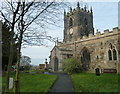 SK4460 : Church tower and porch, Tibshelf by Andrew Hill