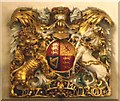 TQ3579 : St. Mary's Church, Rotherhithe - royal coat of arms by Mike Quinn