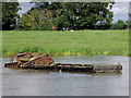 SJ6871 : Sunken boat in Billinge Green Flash, Cheshire by Roger  Kidd