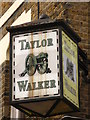 TQ3480 : Taylor Walker sign on Turner's Old Star, Watts Street / Meeting House Alley, E1 by Mike Quinn