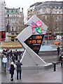 TQ2980 : Olympic countdown clock, Trafalgar Square WC2 by R Sones