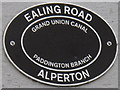 TQ1783 : Canal bridge sign, Ealing Road Alperton over Grand Union Canal Paddington Branch by David Hawgood