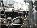 SP3165 : Two sizes of sewer pipe waiting in the Parade by Robin Stott