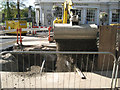 SP3165 : Backfilling a sewer trench in the Parade by Robin Stott
