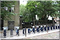 TQ3182 : Clerkenwell Green bicycle station by Roger Templeman