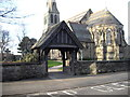 SJ4390 : Lych gate, St Bartholomew's Church, Roby by John Lord