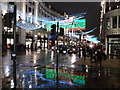 TQ2981 : London: Christmas light reflections in Regent Street by Chris Downer