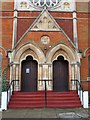 TQ2183 : Harlesden Baptist Church, Acton Lane, NW10 - entrance by Mike Quinn