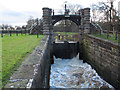 SJ6470 : Vale Royal locks - sluice by Stephen Craven