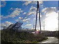 SJ7893 : Suspension Bridge over the M60 by David Dixon