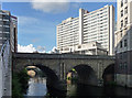 SJ8398 : Former Fairburn House and Blackfriars Bridge, Manchester by Stephen Richards