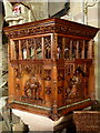 SK2853 : Carved pulpit, Wirksworth church by Andrew Hill