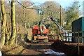 SJ5671 : Blocked footpath near Hart Hill, Delamere by Jeff Buck