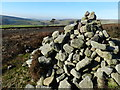 SK0488 : Cairn by path over Middle Moor by Peter Barr