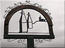 TQ6648 : East Peckham Village Sign (Close-up) by David Anstiss