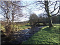 SE0237 : Pld pack horse bridge over the river Worth near Haworth by Rob Bainbridge