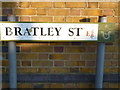 TQ3482 : Street sign, Bratley Street E2 by R Sones