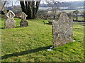 ST9723 : Lichen on the gravestones, St Mary's Churchyard by Miss Steel