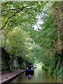 SJ6833 : Narrowboat approaching Tyrley Bottom Lock near Market Drayton by Roger  Kidd