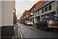 SJ7578 : King Street, Knutsford where the pavement becomes no more than a kerb stone by Roger A Smith