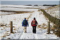 NT5438 : Walkers on the Southern Upland Way by Walter Baxter