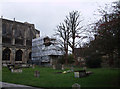 ST9387 : Restoration work and tree surgery, Malmesbury Abbey by Vieve Forward