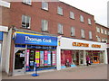 SO9570 : Bromsgrove High Street  Thomas Cook & Clinton Cards by Roy Hughes