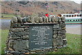 NY3816 : Plaque to Donald Campbell, Glenridding by Jim Barton