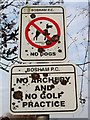 SU8104 : Warning signs, Recreation Ground, Bosham by nick macneill