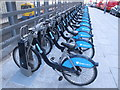 TQ2380 : Barclays cycle hire at Westfield, SE docking station by David Hawgood
