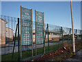 SJ8293 : Banners at Chorlton High School by Phil Champion