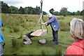 SK2679 : Positioning Companion Stone to old guide stoop on Longshaw Estate by Chris Morgan
