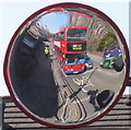 TQ2182 : Mirror on traffic lights to show cyclists to drivers by David Hawgood