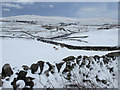 SD8073 : View across Ribblesdale in the snow by John S Turner