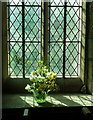 SK2758 : Window and flowers, Bonsall Church by Andrew Hill