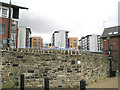 SK3687 : Angled stone wall by Sheffield Basin lock by Robin Stott